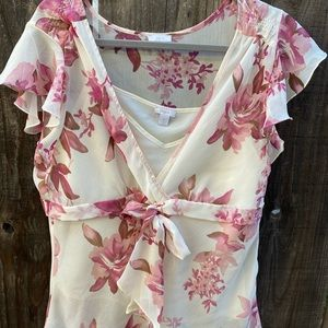 Sweet Apt. 9 floral top w/ built-in cami